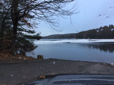 Winchester Lake is shallow except in a few areas so it freezes hard quickly...