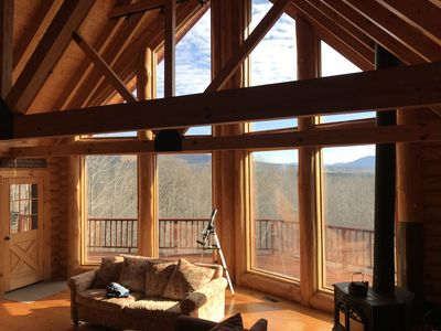 Photo for Tranquil Mt Views idyllic log cabin minutes to Windham Mountain
