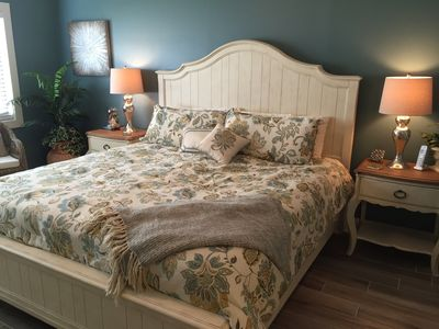 Master Suite, newly remodeled unit furnished by Tommy Bahama. King Bed.