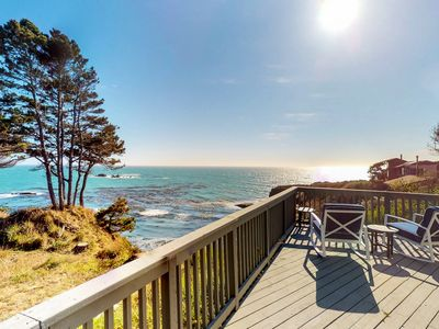 Photo for New Listing! Oceanfront home w/stunning views, in the heart of Gualala, 1 dog OK