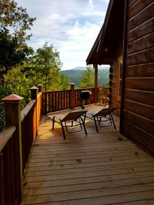 Photo for Brand new Log Cabin over the riverVIEWS! Mountains, lake,beach,waterfall