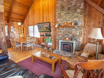 Photo for 3BR Mountain Cabin with Game Room, Flat Screen TV, Stone Wood Burning Fireplace, Great Location