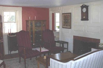 Large private parlor with fireplace