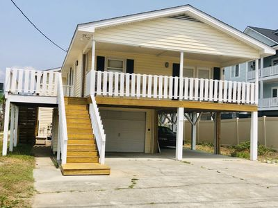 Photo for Cherry Grove Beach House, only steps to the ocean. Private pool, 4 bedrooms