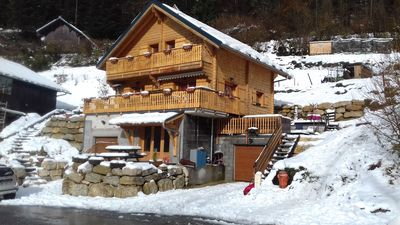 Photo for Apartment in mountain chalet overlooking the valley and the ski slopes