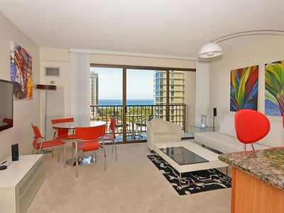 Photo for Partial Ocean and sunset views from this modern, high floor 1-bedroom condo!