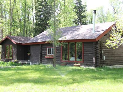 Photo for Rustic Log Cabin on 1/2 acre in the Woods