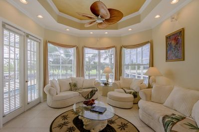 Villa Benita features upgraded furnishings as well as tray ceilings in the living room