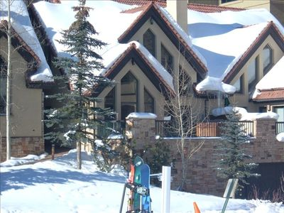 Exterior view from the ski slopes, direct access, steps from your front door.