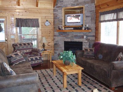 Living Room - enjoy your evenings around our gas fireplace