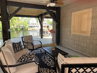 Photo for Stunning Lake Front Beach House in Ocean Lakes, 5 BR, 3 BA, Outside living area