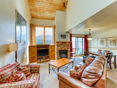 Photo for NEW LISTING! Two-story mountain condo w/ fireplace, shared pool, gym & game room