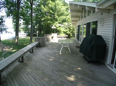 Deck with a beautiful view of Bass Lake