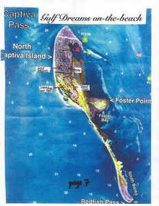 North Captiva  Island wildlife area in yellow, developed area in pink