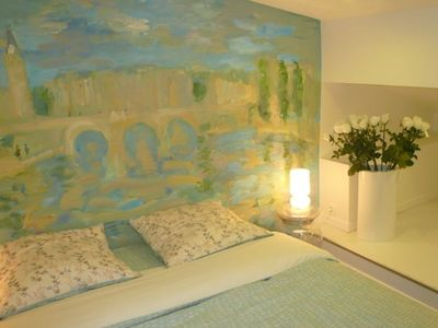 Bed Room : Enormous Fresque Painting (the Edges of the Seine by Pierre Gogois)