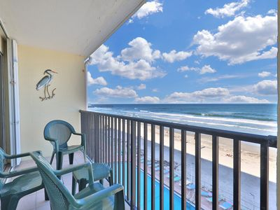 Photo for NEW LISTING! Recently-updated, waterfront studio w/shared pool overlooking beach