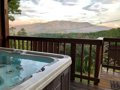 Relax in privacy with views of Mt. Leconte & Great Smokey Mnt. National Park.
