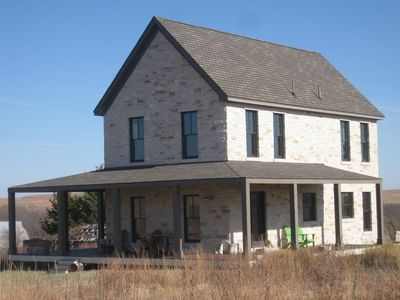 The wrap around porch allows many options for prairie viewing.