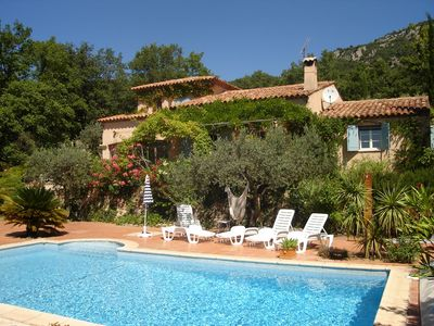 Photo for Villa with pool and marvellous view to sea, valleys and surrounding mountains