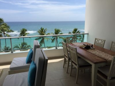Dinning table in balcony for 6
