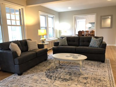 Large & airy living room area. Opens up to kitchen & dining area!