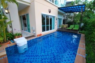 Private swimming pool in gated private yard