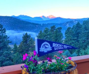 Longs Peak & Rocky Mountain National Park summertime view from cabin deck!