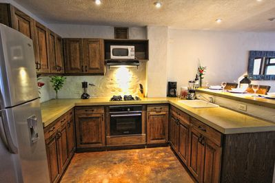 Full Kitchen, Stove,  Microwave, Dishes, Coffee Maker
