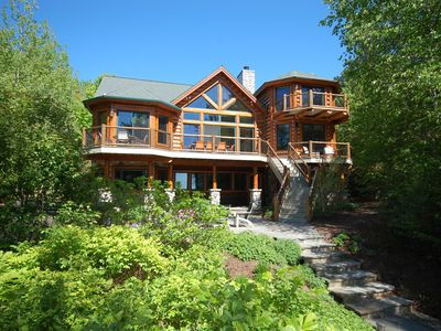 Photo for Huge, Stunning Log Home on 200' of Lake Michigan Beach near Northport.