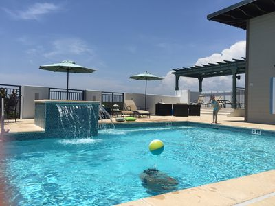 Relax at the rooftop pool!