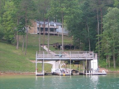 View of house and dock from Norris Lake