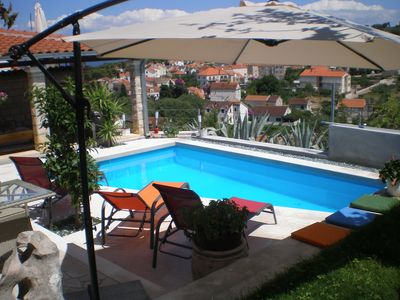 Pool [22m2] with panoramic view of Sutivan, Brac Channel and mainland!