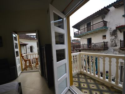 "Photo for Historic ""Los Balcones"" studio #203- 3 balconies/Rooftop deck- WiFi/AC/Hot H20"