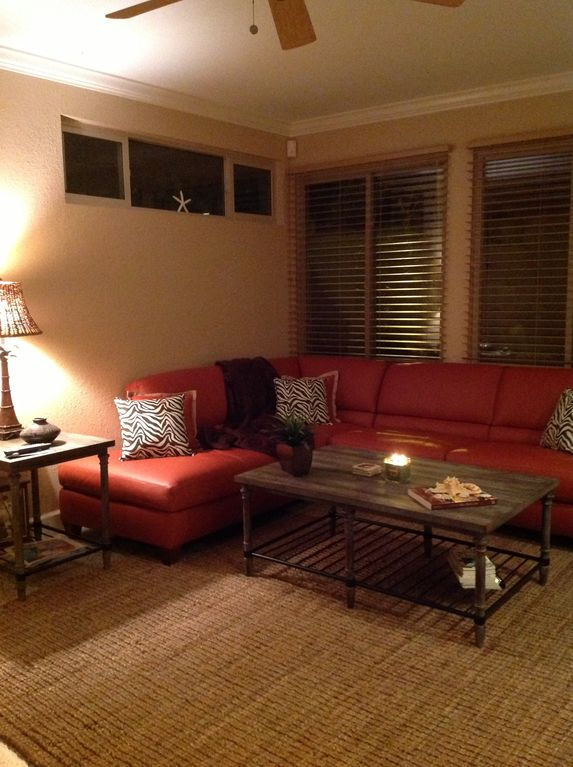Family room with leather pull out sectional u0026 flat screen HD TV with cable. & Beautifully decorated waterfront home with ... - VRBO azcodes.com