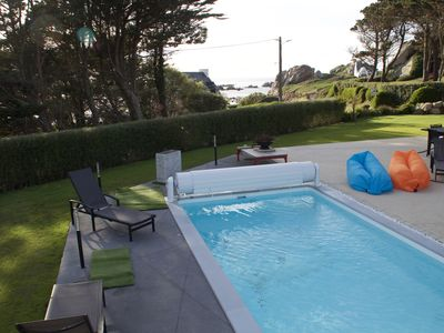 Photo for House sea view and beach 100m, swimming pool sauna hammam indoor and outdoor spa