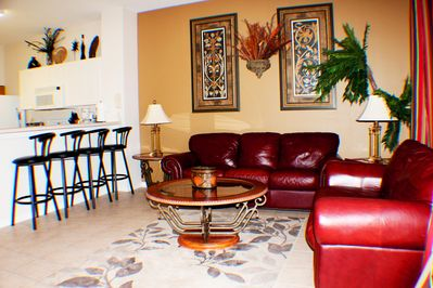 Comfortable leather furniture and plenty of room for seating in the living room