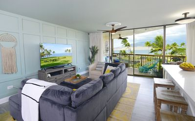 Views of the Pacific Ocean and West Maui from inside the home.