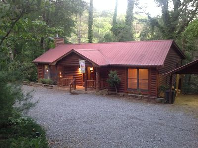 Photo for Toccoa River Front 4 Bedroom, 3 Bath Log Cabin with Hot Tub and Pool Table!