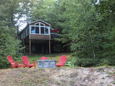Photo for Waterfront Cabin with Outdoor Fire Pit, Private Beach and Dock on Belleau Lake