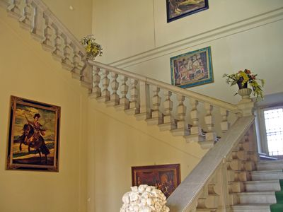 Entrance to the upstairs apartment is through a huge stair entry way