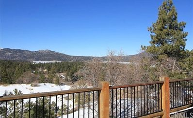 Outside Deck with views of the frozen lake