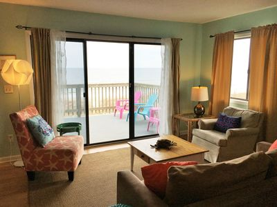 Photo for Stay on the Beach in Family-friendly Oceanfront Condo 180 Views from Deck w Pool