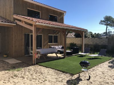Photo for BEAUTIFUL WOODEN CHALET at 5 min walk from the ocean