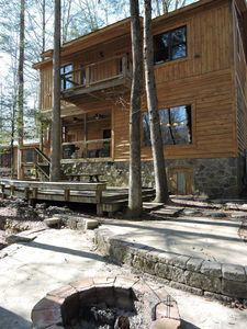 Back side of cabin facing the river. Porches on first and second floor