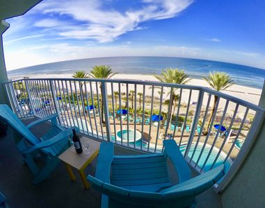 4th floor Balcony overlooking center of pool and 180 degree view of gulf.