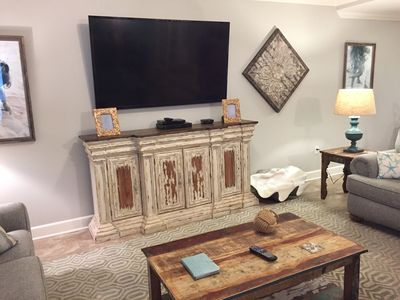 Living Room with 70 inch Smart TV and DVD