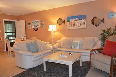Fun beach theme with comfortable seating for all.