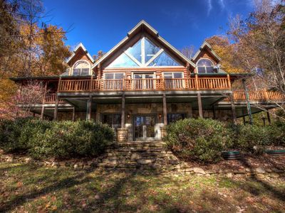 Photo for Three Creeks Lodge; Ultimate Timber Lodge luxury.  Hot tub, entertainment areas, trails, creeks & more!