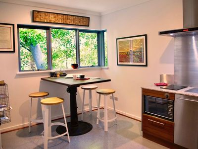 A lovely tree top view from the funky industrial kitchen