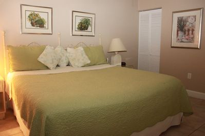 Master bedroom has a king size bed for extra room and comfort
